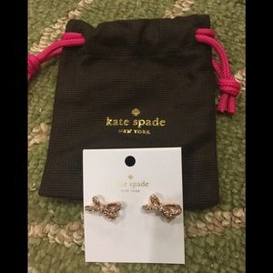 Kate Spade Rose Gold Bow Earrings with Bag